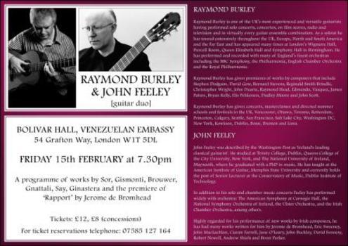 Raymond Burley and John Feeley - POSTPONED