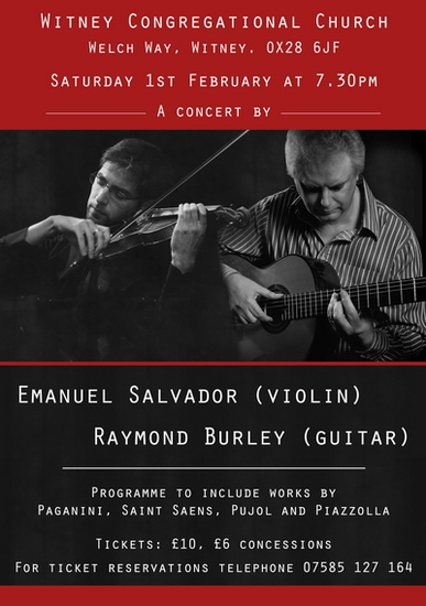 Raymond Burley and Emanuel Salvador violin Concert postponed