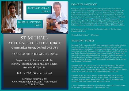 Emanuel Salvador violin and Raymond Burley 9th Feb